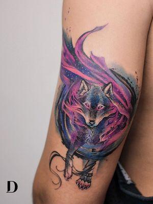 Wolf tattoo by Deborah Genchi aka Debrartist #debartist #deborahGenchi #wolftattoo #wolftattoos #wolf #animal #nature #wolves