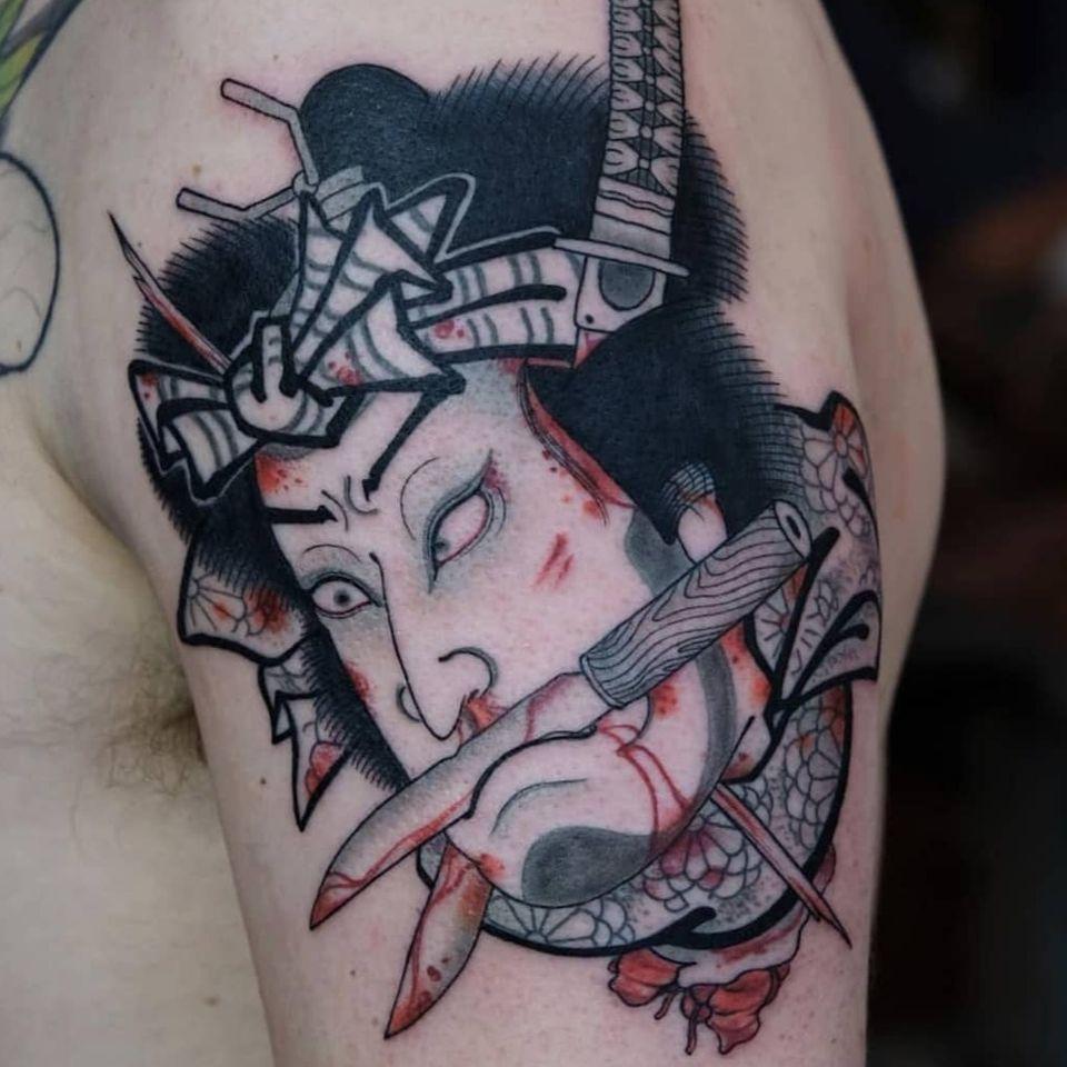 Namakubi tattoo by Jan Willem #JanWillem #namakubi #namakubitattoo #severedhead #japanesetattoos #japanese #irezumi #japanesemythology #mythology