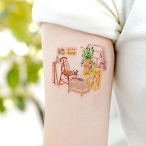 Illustrative watercolor tattoo by Ovenlee #Ovenlee #OvenleeTattoo #StudioBySol #watercolor #illustrative #colorpencil #sketch #cute #chair #plant #stilllife #home