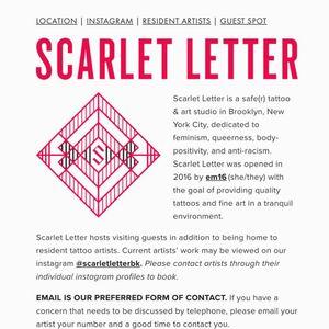 Scarlet Letter: safe space tattoo studio #ScarletLetter