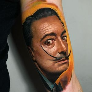 Salvador Dali tattoo by ubiratanamorim #ubiratanamorim #salvadordali #portrait #hyperrealism #portrait #surrealist #painter