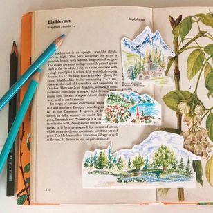 Illustrative watercolor tattoo flash by Ovenlee #Ovenlee #OvenleeTattoo #StudioBySol #watercolor #illustrative #colorpencil #sketch #cute