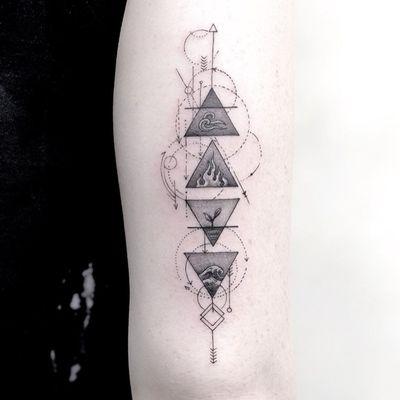 Elements tattoo by Gloria Tattoo #GloriaTattoo #AlchemyTattoo #Fineline #4elements #Fire #Earth #Water #Air