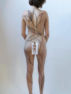 Floral tattoo by Jess Chen #JessChen #bodysuit #flower #floral #plants #leaves #illustrative