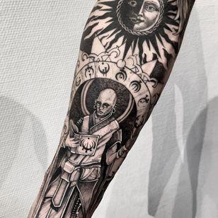 Esoteric sleeve tattoo by Dmitriy Tkach #DmitriyTkach #Esoteric #Esoterictattoo #Esoterictattoos #sigil #occult #darkart