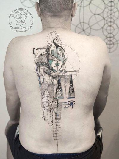 Anubis tattoo by Marie Roura #MarieRoura #anubis #anubistattoo #egyptiantattoo #egyptian #egypt #deity #god #mythical