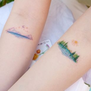 Illustrative watercolor tattoo by Ovenlee #Ovenlee #OvenleeTattoo #StudioBySol #watercolor #illustrative #colorpencil #sketch #cute #landscape #seascape #nature #forest #moon #sun #tree