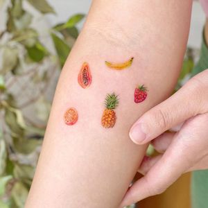 Illustrative watercolor tattoo by Ovenlee #Ovenlee #OvenleeTattoo #StudioBySol #watercolor #illustrative #colorpencil #sketch #cute #passionfruit #orange #pineapple #strawberry #banana #fruit #food #tropical #vacation