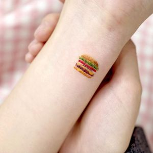 tiny burger tattoo by ovenlee #ovenlee #burger #food #cheeseburger