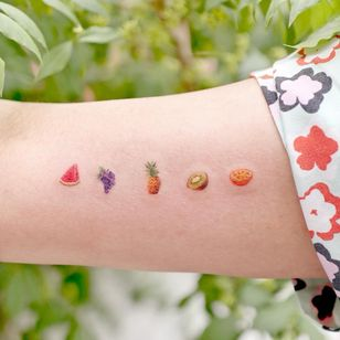 Illustrative watercolor tattoo by Ovenlee #Ovenlee #OvenleeTattoo #StudioBySol #watercolor #illustrative #colorpencil #sketch #cute #watermelon #grapes #pineapple #kiwi #orange #fruit #food #tropical #vacation