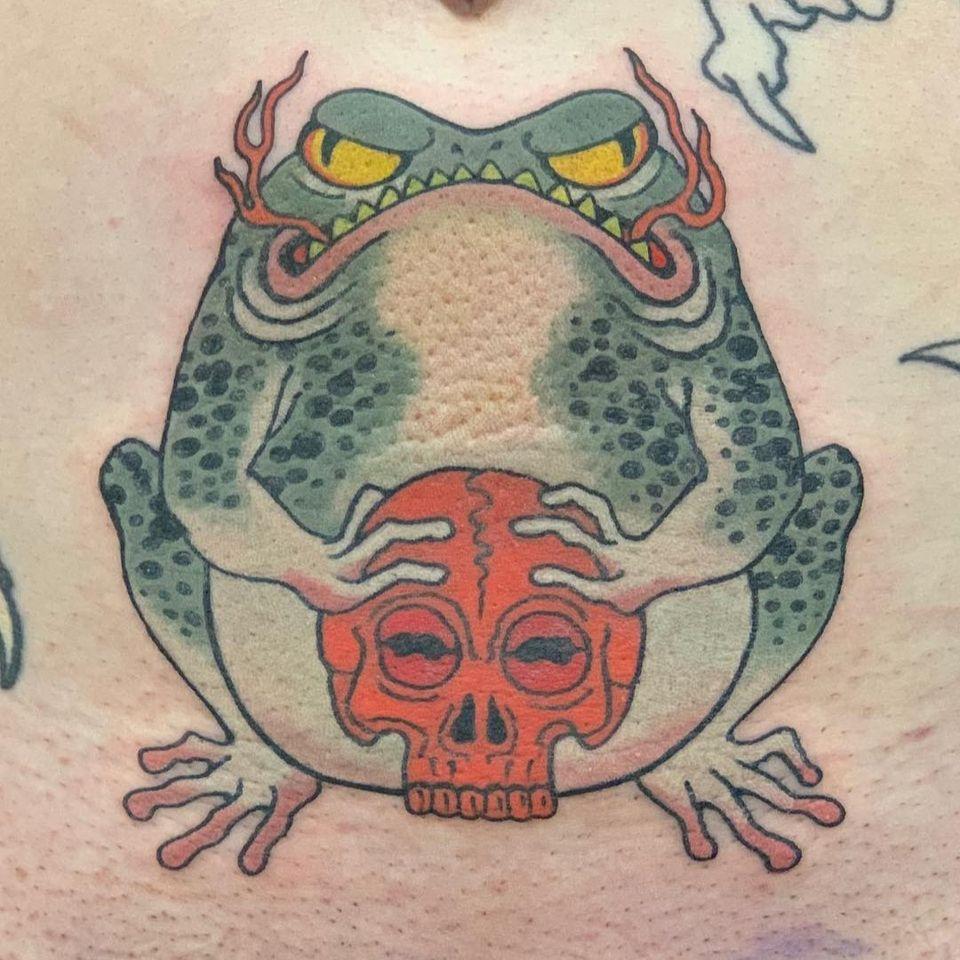 Japanese Toad Tattoo by Warriorism #Warriorism #Toad #toadtattoo #Japanesetoad #japanesetattoos #japanese #irezumi #japanesemythology #mythology