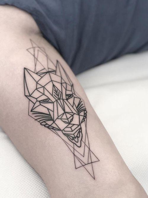 Geometric wolf tattoo by Jonathan Mckenzie #JonathanMckenzie #wolftattoo #wolftattoos #wolf #animal #nature #wolves