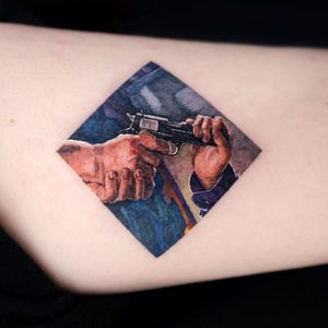 Gun tattoo by March Tattoo #marchtattoo #illustrative #realism #hands #gun