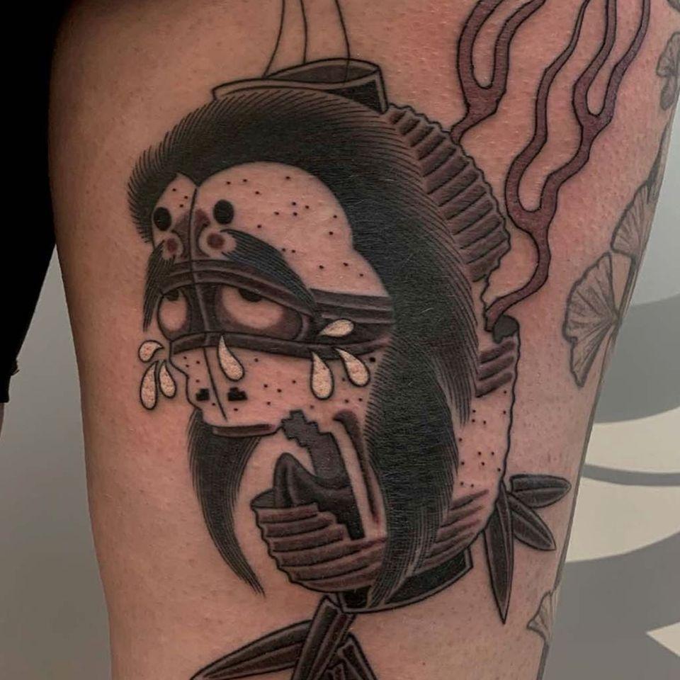 Chochin-obake tattoo by Acetates #Acetates #chochinobake #Japaneselanterntattoo #lantern #yokai #japanesetattoos #japanese #irezumi #japanesemythology #mythology