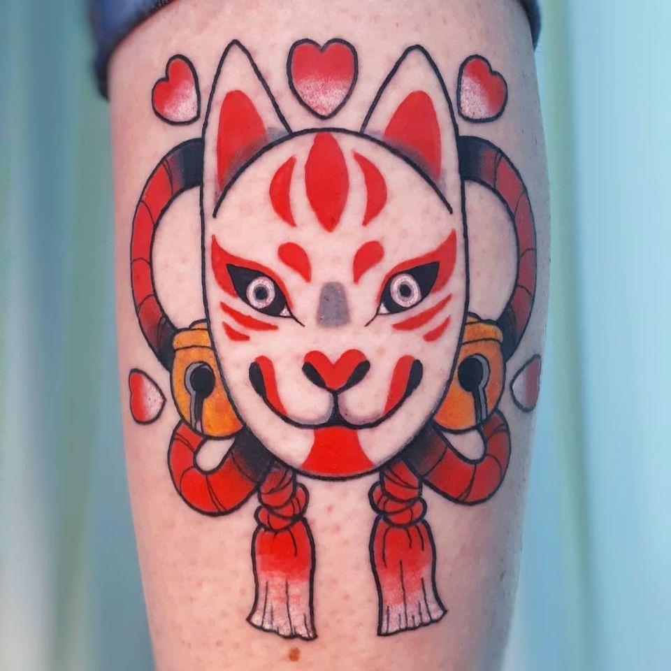 Japanese mask tattoo or Kitsune tattoo by Alicia aka silly girl tatts #Alicia #sillygirltatts #japanesemasktattoo #japanesemask #kitsune #kitsunemask #japanesetattoos #japanese #irezumi #japanesemythology #mythology