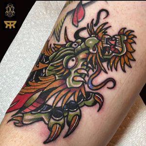 Dragon tattoo by Matthew Limbers #MatthewLimbers #dragontattoos #dragontattoo #dragon #mythicalcreature #myth #legend #magic #fable