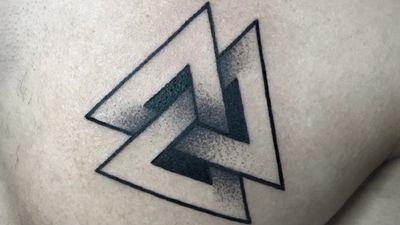 Bold black work Valknut tattoo by Valeri of Home Tattoo Estudio #Valeri #Valknuttattoo #Blackwork #triangle #small #MeaningfulTattoo #Norse