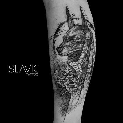 Anubis tattoo by Slavic tattoo #slavictattoo #anubis #anubistattoo #egyptiantattoo #egyptian #egypt #deity #god #mythical