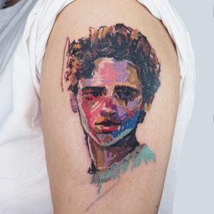 Illustrative tattoo by Bona Tattoo #BonaTattoo #color #illustrative #crayon #painting #portrait