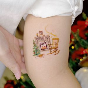 Illustrative watercolor tattoo by Ovenlee #Ovenlee #OvenleeTattoo #StudioBySol #watercolor #illustrative #colorpencil #sketch #cute #christmas #fireplace #rockingchair #memory #xmas #christmastree #christmasdecoration