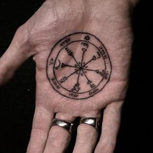 Sigil palm tattoo by B Ignorant #Bignorant #Esoteric #Esoterictattoo #Esoterictattoos #alchemytattoo #alchemytattoos #sigil #occult #handtattoo #palmtattoo #darkart