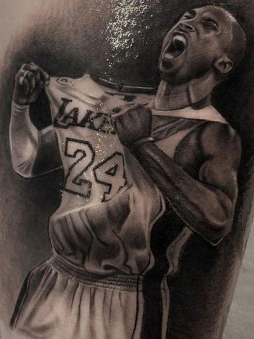 Kobe Bryant tattoo by Ash Lewis #AshLewis #kobebryanttattoo #kobebryant #Lakers #24 #basketball #sports #memorialtattoo