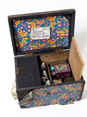 An archive photograph of a wooden box containing Jessie Knight's tattooing tools, photographed by Paul Abbitt #JessieKnight #Britain'sfirstfemaletattooist #traditionaltattoos #vintagetattoos #historyoftattooing