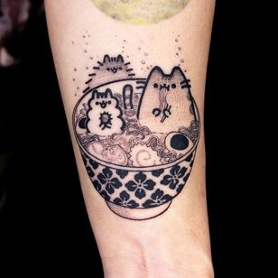 Pusheen cat tattoo by OOzy #Oozy #cattattoos #cattattoo #kittytattoo #kitty #cat #petportrait #animal #nature #pusheen #illustrative