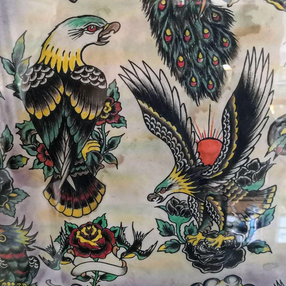 Swallow Tattoo flash #swallowtattoo #romatattoomuseum #tattoohistory #tattoomuseum #tattooculture #rome #italy