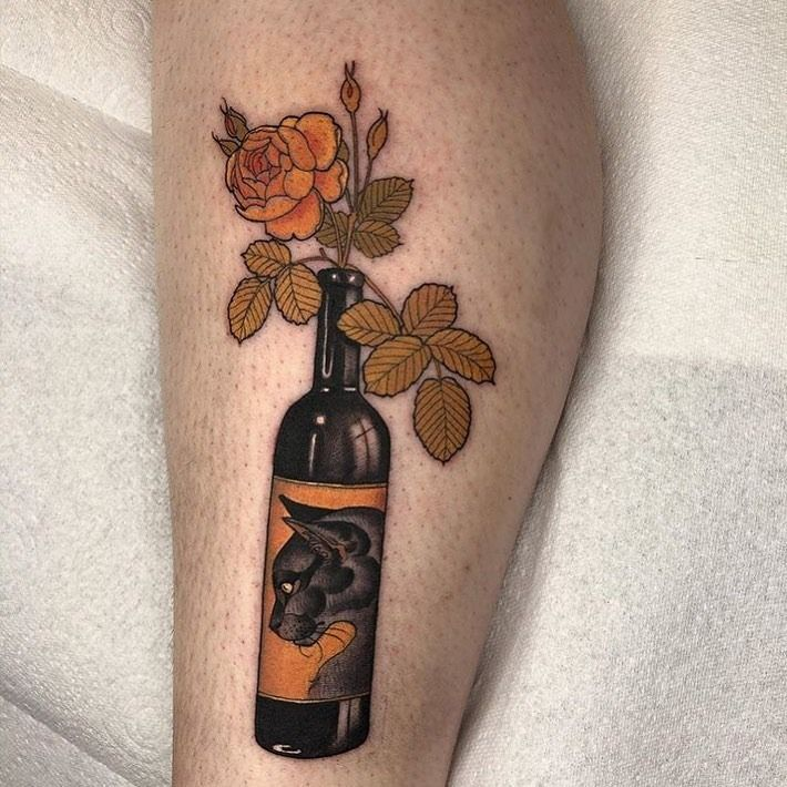 Neo-Traditional cat tattoo by Hannah Flowers #HannahFlowers #neotraditionalcattattoo #cattattoo #neotraditional #bottle #wine #flowers #roses #artnouveau #cattattoos #cattattoo #kittytattoo #kitty #cat #petportrait #animal #nature