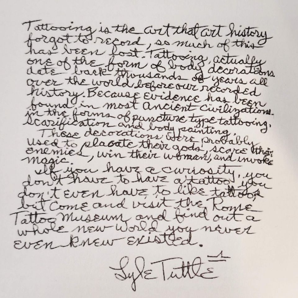 A note by Lyle Tuttle about Roma Tattoo Museum #lyletuttle #romatattoomuseum #tattoohistory #tattoomuseum #tattooculture #rome #italy