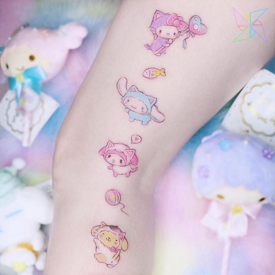 Hello Kitty tattoo by Monsoon Tattoo #MonsoonTattoo #hellokittytattoo #hellokitty #sanrio #anime #manga #cute #cattattoos #cattattoo #kittytattoo #kitty #cat #petportrait #animal #nature