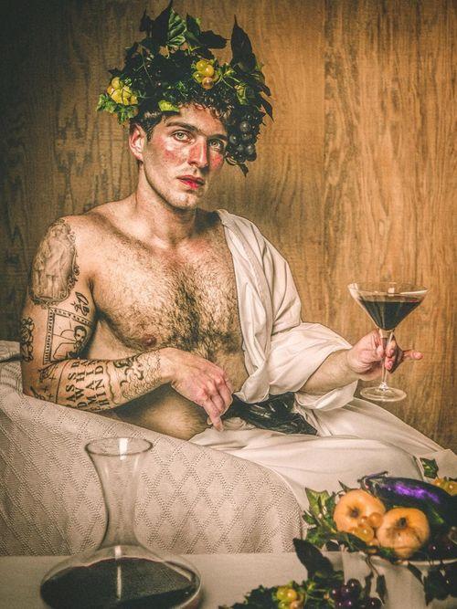 "Photo collage by Mario Elias Jaroud ""Self-Portrait as Mario Minniti in Caravaggio's ""Bacco"" #MarioElíasJaroud #kindasupermario #arthistory #contemporaryphotography #fineart #tattoocollector #selfportrait"