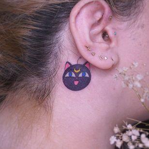 Luna ball cat tattoo by Al Tattooer #AlTattooer #lunacattattoo #lunatattoo #sailormoontattoo #sailormoon #anime #manga #cattattoos #cattattoo #kittytattoo #kitty #cat #petportrait #animal #nature