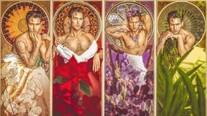 "Photo collage by Mario Elias Jaroud ""Self-Portrait as Mucha's Precious Gems, 1900"" #MarioElíasJaroud #kindasupermario #arthistory #contemporaryphotography #fineart #tattoocollector #selfportrait"