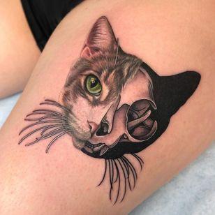 Cat tattoo by Megan Massacre of Grit n Glory #MeganMassacre #GritnGlory #cattattoos #cattattoo #kittytattoo #kitty #cat #petportrait #animal #nature