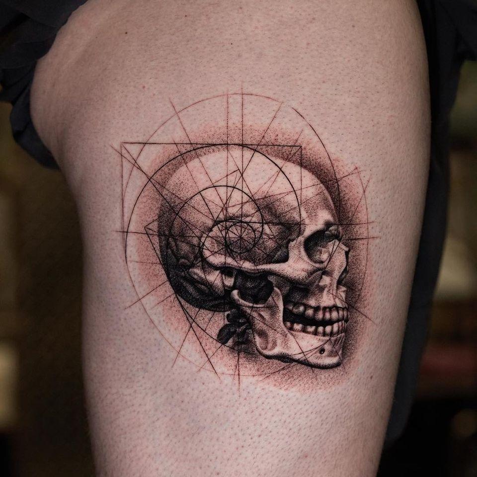 Skull tattoo by Kiljun #Kiljun #SeoulInkTattoo #Seoul #Korea #Seoultattoo #Seoultattooartist #Seoultattooshop #skull #fibonaccispiral #realism #sacredgeometry #linework