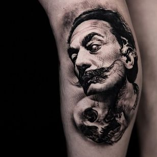 Dali portrait tattoo by Suno #Suno #SeoulInkTattoo #Seoul #Korea #Seoultattoo #Seoultattooartist #Seoultattooshop #dali #salvadordali #surrealist #skull #portrait #realism #darkart