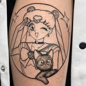Luna cat tattoo by Alevix tattoo #Alevixtattoo #lunacattattoo #lunatattoo #sailormoontattoo #sailormoon #anime #manga #cattattoos #cattattoo #kittytattoo #kitty #cat #petportrait #animal #nature