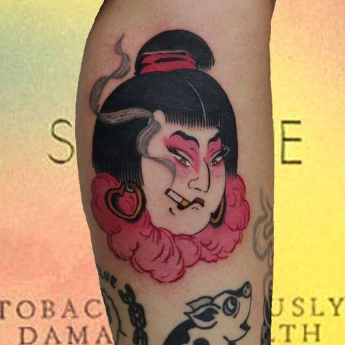 Japanese tattoo by Lara aka 90sdolphintattoo #Lara #90sdolphintattoo #LaraThomsonEdwards #Japanese #Japaneseinspired #geisha #smoke #cigarette #lady #portrait
