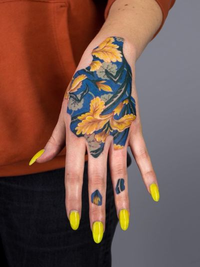 Tattoo by Anya Tsyna #AnyaTsyna #illustrative #realism #color #surreal #strange #unique #gems #diamond #ornamental #jewelry #fineart #handtattoo #baroque #flower
