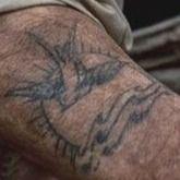 Jack Sparrow's Traditional swallow and sun tattoo #iconicfilmtattoos #traditionaltattoos #nauticaltattoos #piratetattoos #authentictattoos #johnnydepp #jacksparrow #swallow