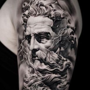 Greek god portrait tattoo by Suno #Suno #SeoulInkTattoo #Seoul #Korea #Seoultattoo #Seoultattooartist #Seoultattooshop #greekgod #zeus #sculpture #thunder #portrait #realism
