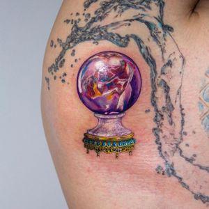 Tattoo by Anya Tsyna #AnyaTsyna #illustrative #realism #color #surreal #strange #unique #gems #diamond #ornamental #jewelry #fineart #crystalball