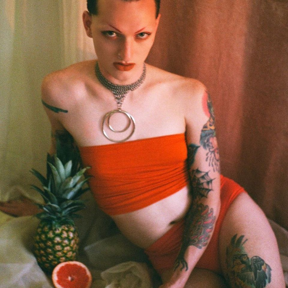 Daria aka Bored Lord wearing Affect Metals - photography by Abe aka Sad Sack #AffectMetals #tattoocollector #queerarmor #chainmail #metalworking #lingerie #fashion #style #jewelry #sextoys #fetishwear