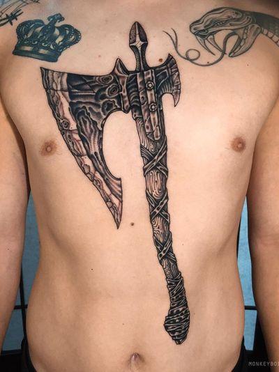 Ax tattoo by Bobby aka Monkey Bob #Bobby #MonkeyBob #SeoulInkTattoo #Seoul #Korea #Seoultattoo #Seoultattooartist #Seoultattooshop #ax #illustrative #weapon #viking #medieval #chest #torso #stomach