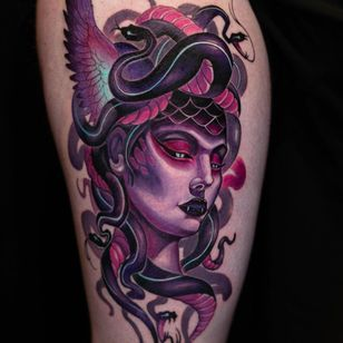 Medusa tattoo by Camoz #Camoz #SeoulInkTattoo #Seoul #Korea #Seoultattoo #Seoultattooartist #Seoultattooshop #color #neotraditional #newschool #medusa #deity #legend #monster #creature #snakes #portrait