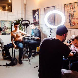 Simon Lester, Lucas Iglesias and Emil Svedborg at the Fernet-Branca X Tattoodo Tattoo Flash Pop-up Event - photo by Dennis Frandsen #tattooflashpopup #tattooevent #tattooflash #tattooflashevent