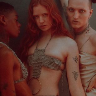 Monique aka weirdandskinny, Butter Ball aka iambutterball, and Daria aka Bored Lord wearing Affect Metals - photography by Alexandra Kacha #AffectMetals #tattoocollector #queerarmor #chainmail #metalworking #lingerie #fashion #style #jewelry #sextoys #fe