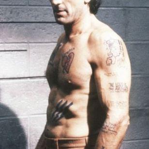Robert De Niro as psycho Max Cady #filmtattoos #movietattoos #authentictattoos #prisontattoos #RobertDeNiro #MaxCady #CapeFear